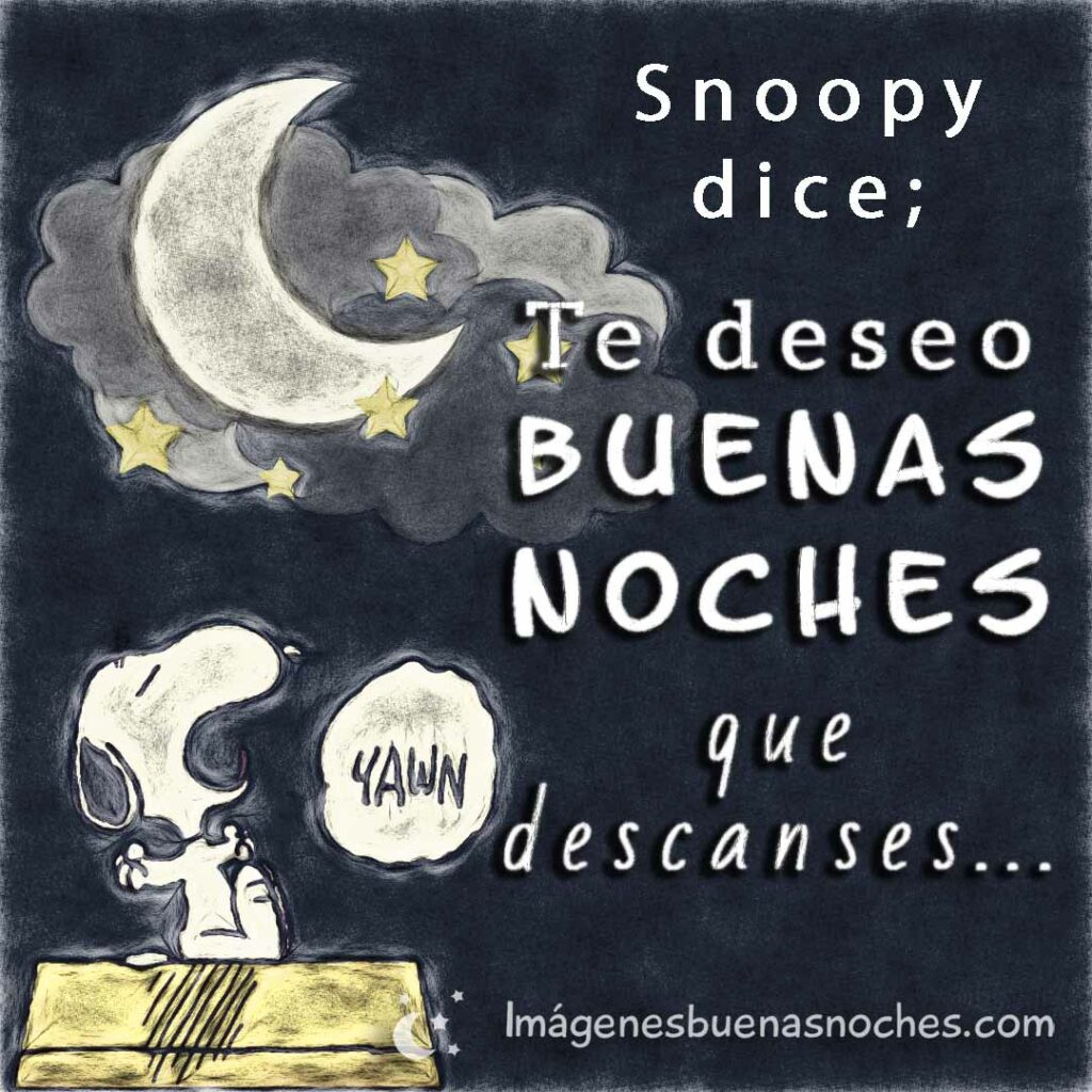 Snoopy dice; Te deseo buenas noches, que descanses...